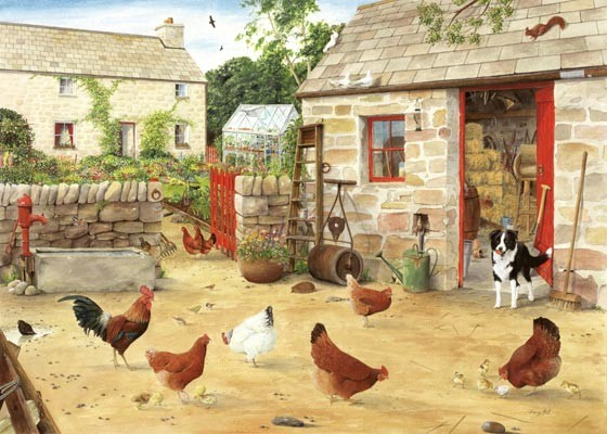 happy hens in farmyard watercolour painting by tracy hall