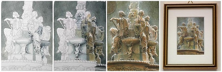 'The Ross Fountain' miniature painting by Tracy Hall