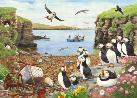 puffins beach coastal painting by tracy hall