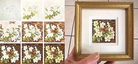 miniature art painting by tracy hall primrose
